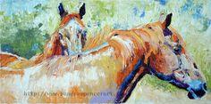 Original Chestnut Horse Friends Painting 8x16 by me Sandra Spencer. $75.00, via Etsy.