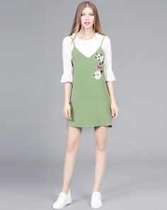 Pale Green Spaghetti Strap Dress With Bell Sleeve Blouse, Green, FAN SHANG - VIPme
