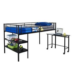 $199.00 (Save 56%) WE Furniture Twin Loft Bed with Desk and Shelves, Black by WE Furniture