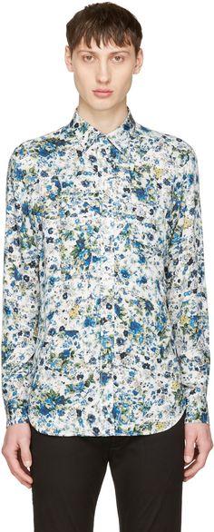 DIESEL White & Blue S-Nico Shirt. #diesel #cloth #shirt