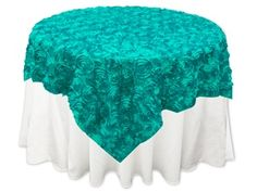 """Turquoise Satin Rosette Overlay. Sizes: Square 72"""" x 72 and  85"""" x 85"""". Please contact me through Etsy for variety of colors. https://www.etsy.com/shop/Zemboor"""