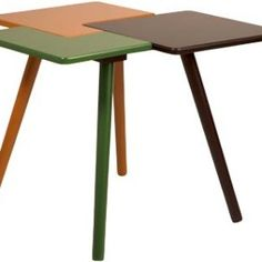 Who says a table can only come in one color? If anyone did you know how wrong they are after setting eyes on this beautiful piece of furniture. This triple side table has it all from; green, orange and brown and looks ever so creative and vibrant. The colorful piece of furniture features all these colors into one and the clever bit is it appears like three tables, but is in fact just one! This features solid, rubber wooden legs, which beautifully complement its three color combination. Three Color Combinations, Outdoor Tables, Outdoor Decor, Wooden Leg, Trash Bins, So Creative, Recycling Bins, Drafting Desk, A Table