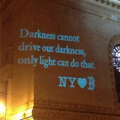 A message from New Yorkers to Boston projected onto a building at the Brooklyn Academy of Music (Photo: Chris Roan)