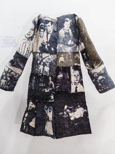 "Textile art. Artist - Laura Gertsone. ""Family coat"". Materials - wool and silk. Technics - silk screen printing and felting."
