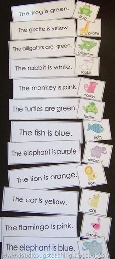 *KIDS EDUCATION* Matching a sentence to a picture. Will probably do these together to model but then they will be put in a pocket chart basket for my students to do independently. Kindergarten Literacy, Literacy Activities, Preschool, Literacy Centers, Teaching First Grade, Teaching Reading, Reading Skills, Reading Games, Early Learning
