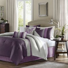 (Click to order - $174.99) Madison Park Amherst 7 pcs Comforter Set - Purple - King From Madison Park