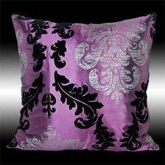 Purple Taffeta Throw Pillow  (Square Couch Cushion, Shiny Black, Silver & Purple Damask, Living Room Decor)
