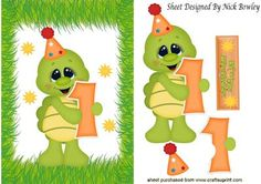 First Birthday little green turtle in party hat on Craftsuprint - Add To Basket!