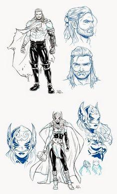 Unworthy Thor, and Female Thor concept art revealed. Marvel Comics, Marvel Comic Universe, Marvel Art, Thor Marvel, Female Thor, Superhero Characters, Dark Fantasy Art, Comic Artist, Character Design Inspiration
