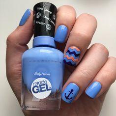 Blue & Peach Anchor Nails! #sallyhansen #sallyhansenca #sugarfix #indiglow #malibupeach #NOTD #nailart #naildesign #anchor #anchornails #nautical #nauticalnails