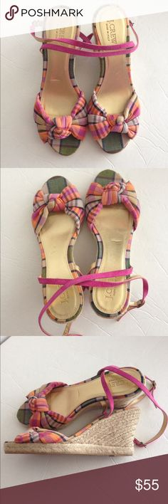 J.Crew plaid espadrille wedge sandals J.Crew pink plaid espadrille wedge sandals-tiny bit of wear on soles/ small indentation as shown in first photo. Ready for a new home. J. Crew Shoes