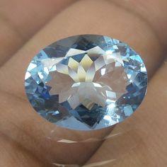 5 Carat 13.7x10.7 mm Faceted AAA Blue Aquamarine Oval Shape Cut Stone HAQ-5…