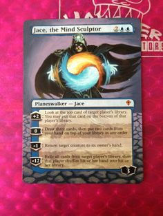 Altered MTG card art Jace, The Mind Sculptor hand painted, artist unknown. http://www.squidoo.com/magic-the-gathering-altered-art-cards #mtg #magic #magicthegathering #painting #geek #alteredart