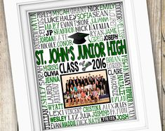 Middle School Graduation Gift ~ Class Picture Printable Graduation ~ 8th Grade Graduation Junior High Student Names Class of 2016 DIGITAL