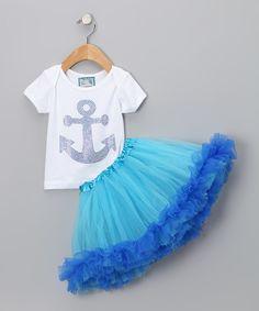 White & Blue Anchor Tee & Tutu - Infant, Toddler & Girls