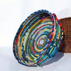Large Round Coiled Fabric Basket Bowl  by SquareCircleWorks, $57.00