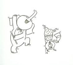 Coloring sheet elephant and piggie i am invited to a party for Piggie and elephant coloring pages