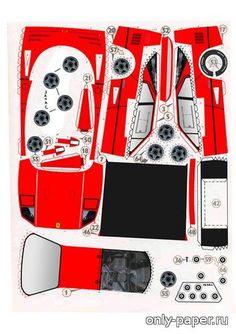 Ferrari F-40 (ЮТ) из бумаги, модели бумажные скачать бесплатно - Легковая машина  - Гражданская техника - Каталог моделей - «Только бумага»