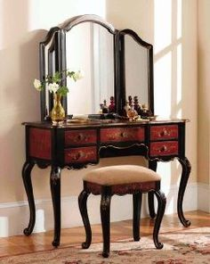 Antique Bedroom Furniture: Vanity Table Set - Canton Vanity, Mirror and Bench - Powell Furniture - 914-290-Antique Bedroom Furniture-Antique Furniture