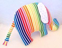 Elephant Pillow / Zoo Nursery / Rainbow Nursery by SewPookie on Etsy