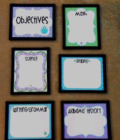 Think * Share * Teach: Objective Display for Monday Made It! With owl sand polka dots :) Objectives Display, Objectives Board, Daily Objectives, Learning Objectives, Displaying Objectives, Posting Objectives, Classroom Walls, Classroom Setup, Classroom Design