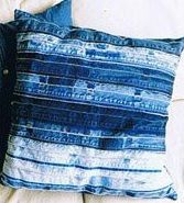 Jeans seams strip pillow.