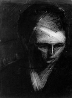 Charcoal Drawing Frank Auerbach, Head of E.W, charcoal on paper, 1956 - Frank Auerbach, Abstract Portrait, Portrait Art, Figure Painting, Painting & Drawing, A Level Art, Art Graphique, Drawing Techniques, Drawing Tips
