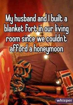 My husband and I built a blanket fort in our living room since we couldn't afford a honeymoon #love #wedding #marriage #DIY