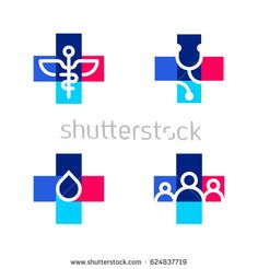 Illustration of Medical or pharmacy logo templates or icons with cross vector art, clipart and stock vectors.