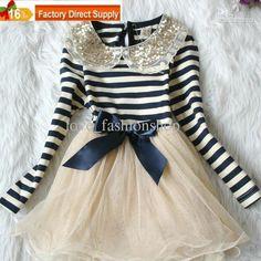 Wholesale Girls Dress - Buy Girls Dress 2013 NEW Sequins Lace Collar Stripe Bow Long-sleeve Dress Girls Skirt Princess Dress, $13.63 | DHgate