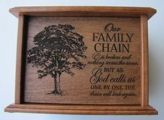 LifeSong Milestones Cremation Urn for Human Ashes for Adult Men and Women Made of Solid Cherry Wood Laser Engraved Verse Our Family Chain is Broken Personalized Memorial Gifts, Small Urns, Human Ashes, Cremation Urns, Wood Boxes, Laser Engraving, Cherry, Chain, Mad