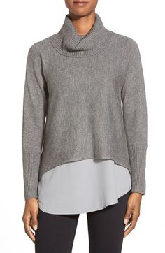 $358  Eileen Fisher Boxy Wool Blend Turtleneck Top available at #Nordstrom