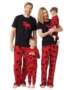 Women's Moose Family Pajamas - Women's Jersey Pajama Pants - Moose on Red - Clothing, Lingerie, Sleep & Lounge, Sleep & Lounge, Sets Family Pajama Sets, Matching Family Christmas Pajamas, Family Pjs, Matching Pajamas, Cute Pajamas, Pajamas Women, Family Holiday Pajamas, Family Shirts, Hatley Pajamas