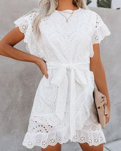 Sweet spring feels for our To Love + To Cherish Cotton Eyelet Dress! Playfully detailed with ruffled short sleeves and a ruffle hemline. Fashioned with a fully embroidered, white fabrication that is lightweight and breathable – yay for cotton! Casual Dresses, Fashion Dresses, Short Sleeve Dresses, Short Sleeves, Spring Dresses With Sleeves, Fashion Shirts, Dresses Dresses, Mini Dresses, Vestidos Color Coral