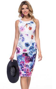 c2dd496aec 8407 - Michaela Louisa 8407, Floral Print Cotton Dress. Ladies smart day  dress and