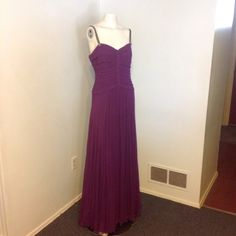 """Vera Wang Purple Beaded Silk Maxi Dress 8 NWT Very pretty Vera Wang Dress. Purple silk - lined in poly/spandex. Top is ruched with beaded straps and a jeweled flower in the front. Long flowing skirt. Marked size 8 - brand new with tags. Chest 34"""" Waist 29"""" Length 59"""" Vera Wang Dresses Maxi"""