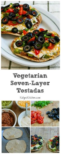 Seven-Layer Tostadas are a great Meatless Monday lunch or dinner idea. I use low-carb tortillas, and you could skip the beans or use less beans if you wanted this to be even lower in carbs. If you like Seven-Layer Dip, you'll love this recipe! Veggie Recipes, Mexican Food Recipes, Vegetarian Recipes, Cooking Recipes, Healthy Recipes, Keto Recipes, Chicken Recipes, Tostadas, Carnitas