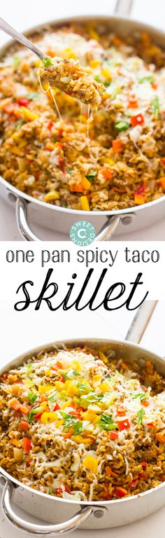 One Pan Spicy Taco Skillet- this is so delicious and easy- great in burritos or salad bowls too!