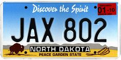 The official North Dakota state license plate. Car License Plates, License Plate Art, Licence Plates, Car Tags, Rapid City, 50 States, United States, North Dakota, Nebraska