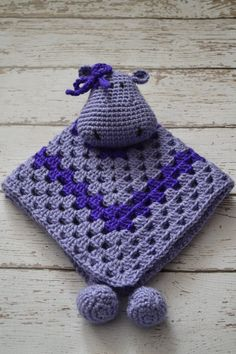 Hippo Lovey Blanket, Baby Security Blanket, Toddler Security Blanket, Granny Square Blanket on Etsy, £20.39