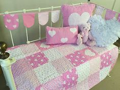 4-pce-Lucy-Pink-Patchwork-Cotton-Baby-Girls-Nursery-Cot-Quilt-Cushion-Bunting