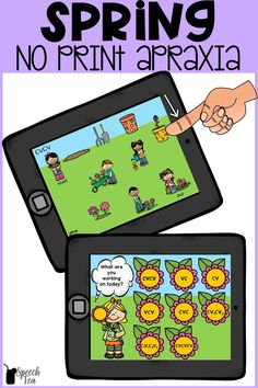 Looking for fun and motivating speech therapy activities? These no print Spring speech therapy activities are fun, no prep, and offer a variety of targets for your students with apraxia of speech. Target syllable structures such as CVCV, CV, VC, CVC, CVCVCV, and more! This garden themed speech resource will sure to be a hit in your speech room this Spring. Click for more info.