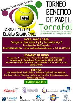 Grupo Hostal colabora con el Torneo Benéfico de Padel de la Asociación Torrafal, que se celebrará el próximo sabado 27 en las instalaciones del Club la Solana Padel.