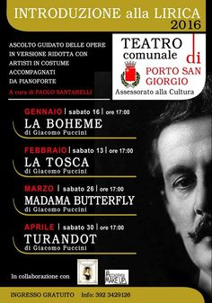 Sabato 16 Gennaio  La Boheme(porto S.giorgio teatro comunale 0re 17,00)