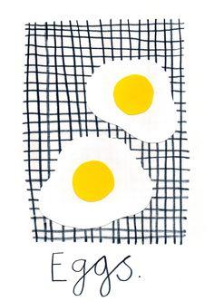 Rachael Cocker, eggs, food, drawing, design, print, pattern, cooking, illustration