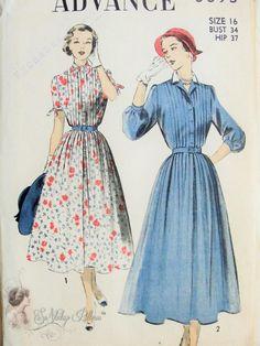 1950s Lovely Feminine Shirt Dress Pattern Lovely Pin Tucks Detail Perfect For Sheer Fabrics Advance 5393 Vintage Sewing Pattern Bust 34 FACTORY FOLDED
