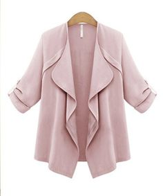 blush rose tab-sleeve open front drapey blazer
