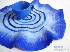 Blue oval table runner  Table mat  Felted wool Placemats  Place Mat Felt Placemats  Modern Placemats Mat Table