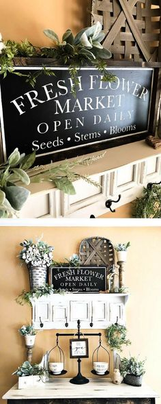 Beautiful vintage sign - will look great in my dining room! Vintage Fresh Flower Market Sign #spring #farmhouse #homedecor #ad