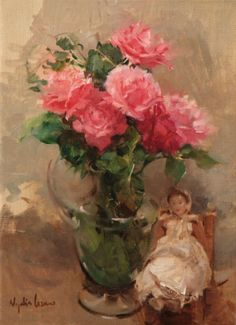 Nydia Lozano 1947 | Spanish Impressionist Figurative painter | Ladies with flowers | Tutt'Art@